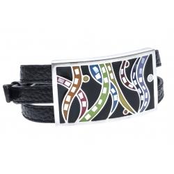 Bracelet en acier - émail - nacre- cuir noir - 3 rangs de 0,8cm réglable