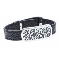 Bracelet en acier - émail - nacre- cuir noir - largeur 1cm - longueur 22cm
