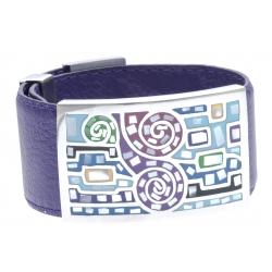 Bracelet acier - émail - nacre - cuir violet - largeur 3cm - longueur 23,5cm