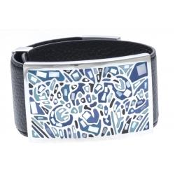 Bracelet acier - émail - nacre - cuir noir - largeur 3cm - longueur 23,5cm