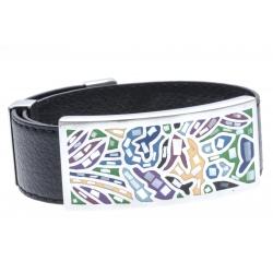 Bracelet acier - émail - nacre - cuir noir - largeur 2cm - longueur 23,5cm