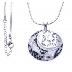 Collier en acier - nacre - émail - fermoir magnétique - 40 cm
