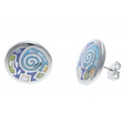Boucles d'oreille acier - émail - nacre