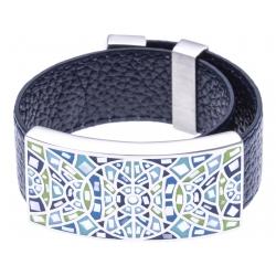 Bracelet acier - émail - nacre - cuir noir - largeur 2 cm - longueur 23,5cm