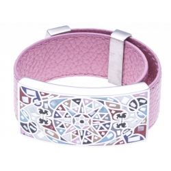 Bracelet acier - émail - nacre - cuir rose - largeur 2 cm - longueur 23,5cm