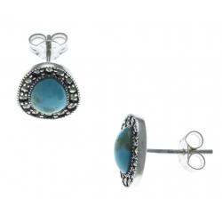 Boucles d'oreille argent rhodié 2,2g - marcassites - turquoise véritable