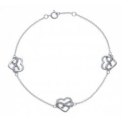 Bracelet argent rhodié 2,8g - 3 cœurs - zircons - 18+1cm