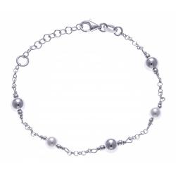 Bracelet argent rhodié 3g - boules et perles synthétiques - 17+3cm