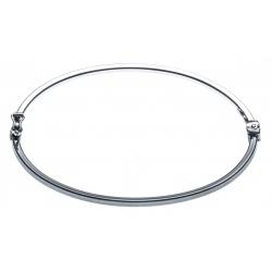 Jong argent rhodié 3,8g - 2 tons noir et rhodié - diamètre int. 60x50mm