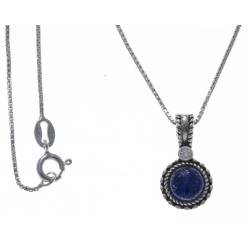 Collier argent rhodié 3,8g - lapis lazulli - zircon - 40cm