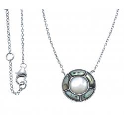 Collier argent rhodié 4,1g - nacre blanche - nacre abalone  - 40+5cm
