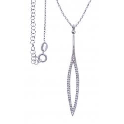 Collier argent rhodié 4,1g - zircons - hauteur 5,5cm - 38+5cm