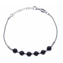 Bracelet argent rhodié 4,2g - 6 billes onyx 6mm - 17+3cm