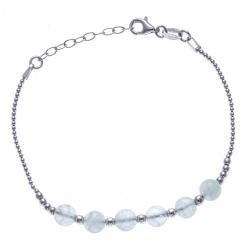 Bracelet argent rhodié 4,2g - 6 billes fluorite 6mm - 17+3cm