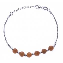 Bracelet argent rhodié 4,2g - 6 billes aventurine orange 6mm - 17+3cm