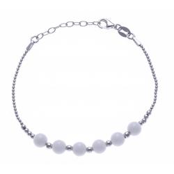 Bracelet argent rhodié 4,2g - 6 billes agathe blanche 6mm - 17+3cm