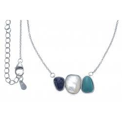 Collier argent rhodié 4,2g -  lapis lazuli - nacre blanche - howlite - 40+5cm