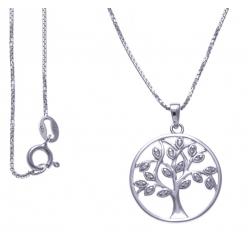 Collier argent rhodié 4,2g - arbre - zircons - 40cm