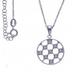 Collier argent rhodié 4,3g - zircons - 40 cm