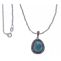 Collier argent rhodié 4,4g - marcassites - turquoise reconstituée - 40 cm