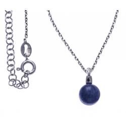Collier argent rhodié 4,6g - quartz bleu - 38+5cm