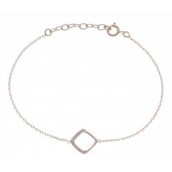Bracelet plaqué or - carré ajouré - zircons - 17+3cm