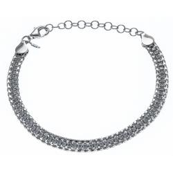 Bracelet argent rhodié  6,9g - zircons - 18+4cm