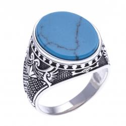 Bague argent rhodié  7,8g -  2 tons -Turquoise bleue synthétique - T56 à 70
