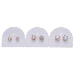 Plaquette 3x Boucles d'oreille plaqué or puce zircon serti 4 griffes diamètre 4-5-6 mm