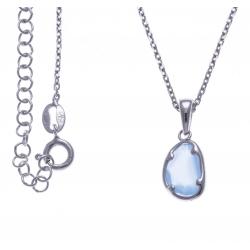 Collier argent rhodié 3g - calcedoine bleue - 40cm