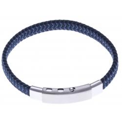 Bracelet acier homme - tissus bleu et noir - largeur 0,8cm -  réglable 20-21,5cm