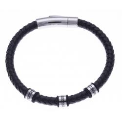 Bracelet acier homme - 2 tons - cuir diam. 6mm - 3 composants - 21cm