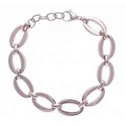 Bracelet acier rosé - ovales - 18+3cm