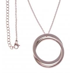 Collier acier rosé - 2 ronds - 40+10cm