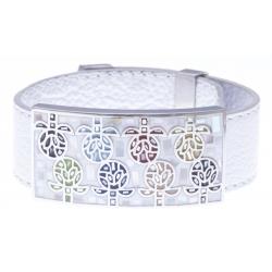 Bracelet acier - nacre - émail - cuir blanc - largeur 2cm - longueur 23,5cm