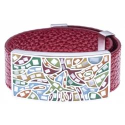 Bracelet acier - nacre - émail - cuir rouge - largeur 2cm - longueur 23,5cm