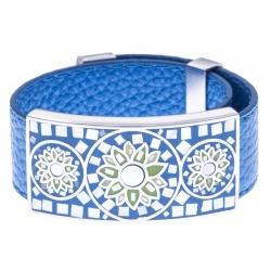Bracelet acier - nacre - émail - cuir bleu - largeur 2cm - longueur 23,5cm