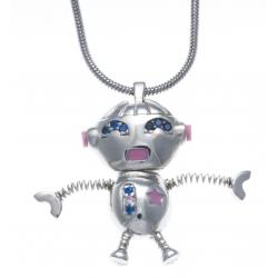 CHIKIBOT - Chikiclubz - Collier argent rhodié 7,6g - émail - oxydes de zirconium - maille serpentine - 45cm