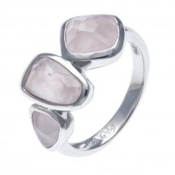 Bague argent rhodié 3,7g - quartz rose - T52 à 60