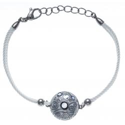 Bracelet acier - nacre - émail - coton blanc - 17+3cm
