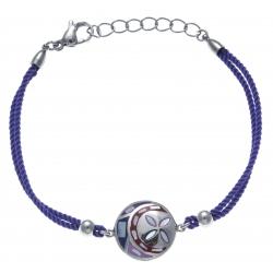 Bracelet acier - nacre - émail - coton violet - 17+3cm