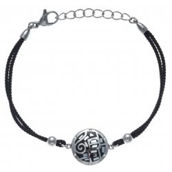 Bracelet acier - nacre - émail - coton noir - strass - 17+3cm