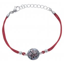 Bracelet acier - nacre - émail - papillon coton rouge - 17+3cm