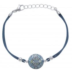 Bracelet acier - nacre - émail - coton bleu foncé - 17+3cm