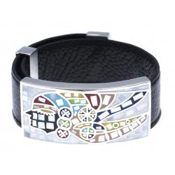 Bracelet acier - émail - nacre - indien - cuir noir - largeur 2 cm - longueur 23
