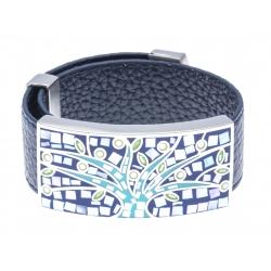 Bracelet acier - émail - nacre - arbre de vie - cuir bleu foncé - largeur 2 cm - longu