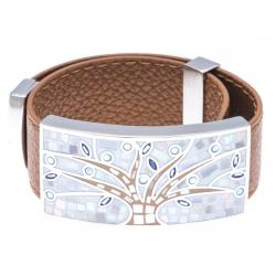 Bracelet acier - émail - nacre - arbre de vie - cuir marron - largeur 2 cm - longu