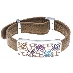 Bracelet en acier - émail - nacre- cuir marron - largeur 1cm - longueur 22cm