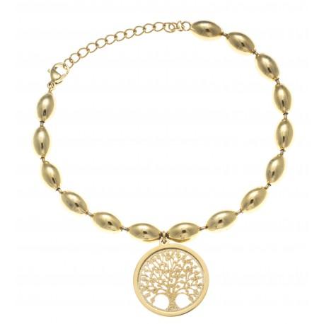Bracelet acier doré- arbre de vie - satiné - diamètre 2cm - 17+4cm