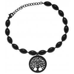 Bracelet acier noir - arbre de vie - satiné - diamètre 2cm - 17+4cm